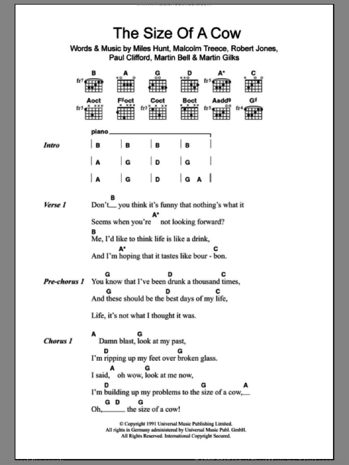 The Size Of A Cow sheet music for guitar (chords) by The Wonder Stuff. Score Image Preview.