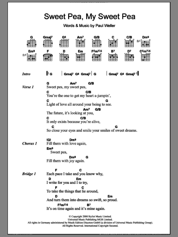 Sweet Pea, My Sweet Pea sheet music for guitar (chords) by Paul Weller. Score Image Preview.