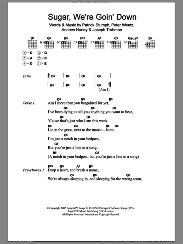 Sugar, We're Goin' Down sheet music for guitar (chords) by Fall Out Boy, intermediate. Score Image Preview.