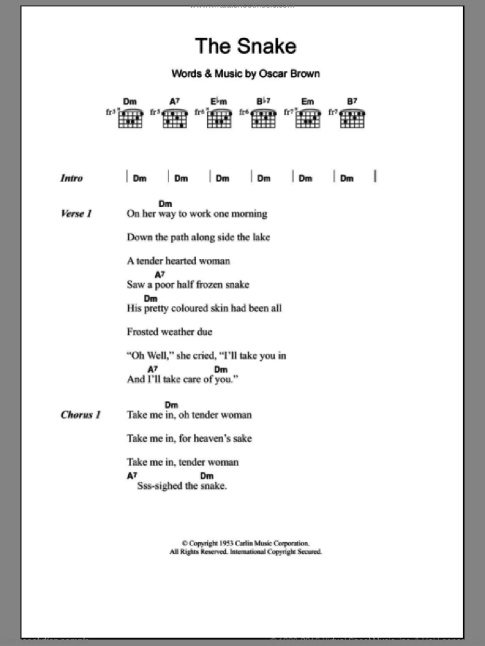 The Snake sheet music for guitar (chords) by Oscar Brown. Score Image Preview.