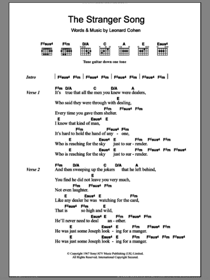 The Stranger Song sheet music for guitar (chords) by Leonard Cohen. Score Image Preview.