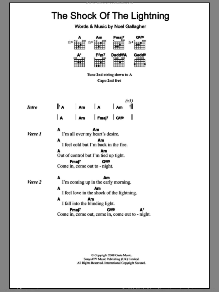 The Shock Of The Lightning sheet music for guitar (chords) by Noel Gallagher and Oasis. Score Image Preview.