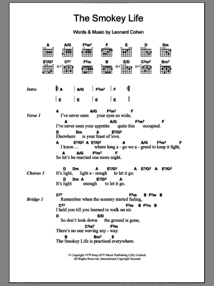 Cohen The Smokey Life Sheet Music For Guitar Chords Pdf