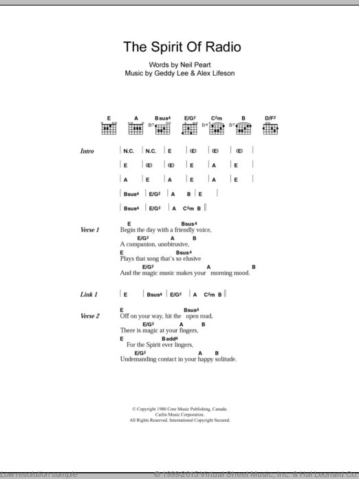 The Spirit Of Radio sheet music for guitar (chords) by Neil Peart