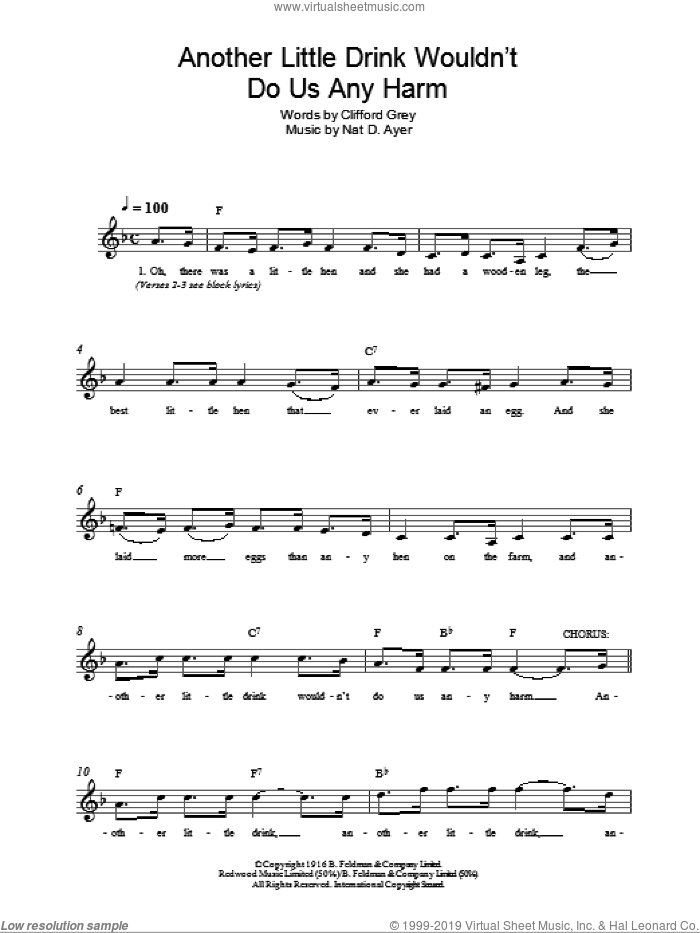 Another Little Drink Wouldn't Do Us Any Harm sheet music for voice and other instruments (fake book) by Clifford Grey and Nat D Ayer, intermediate skill level