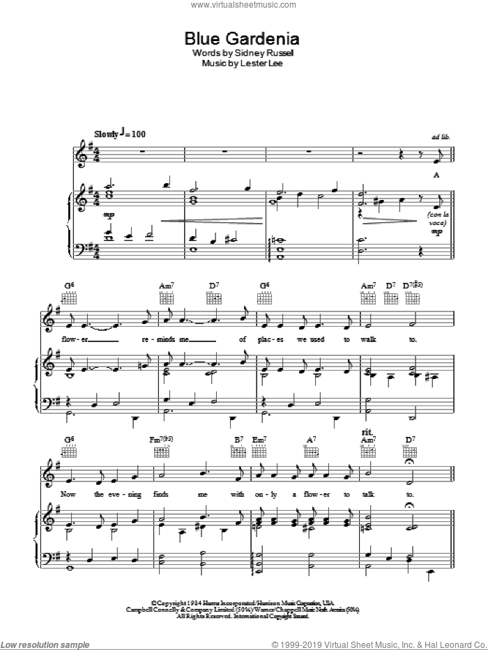 Blue Gardenia sheet music for voice, piano or guitar by Sidney Russell, Nat King Cole and Lester Lee. Score Image Preview.