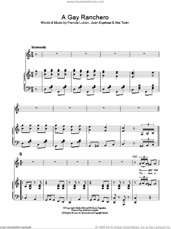 A Gay Ranchero sheet music for voice, piano or guitar by Juan Espinosa