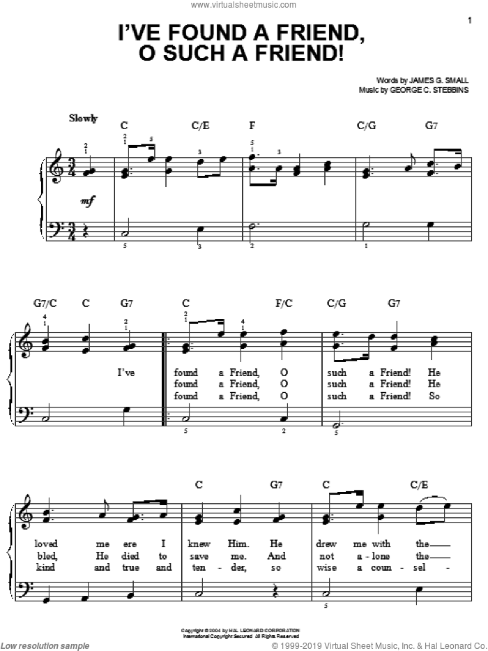 I've Found A Friend, O Such A Friend! sheet music for piano solo by James G. Small and George C. Stebbins, classical score, easy skill level