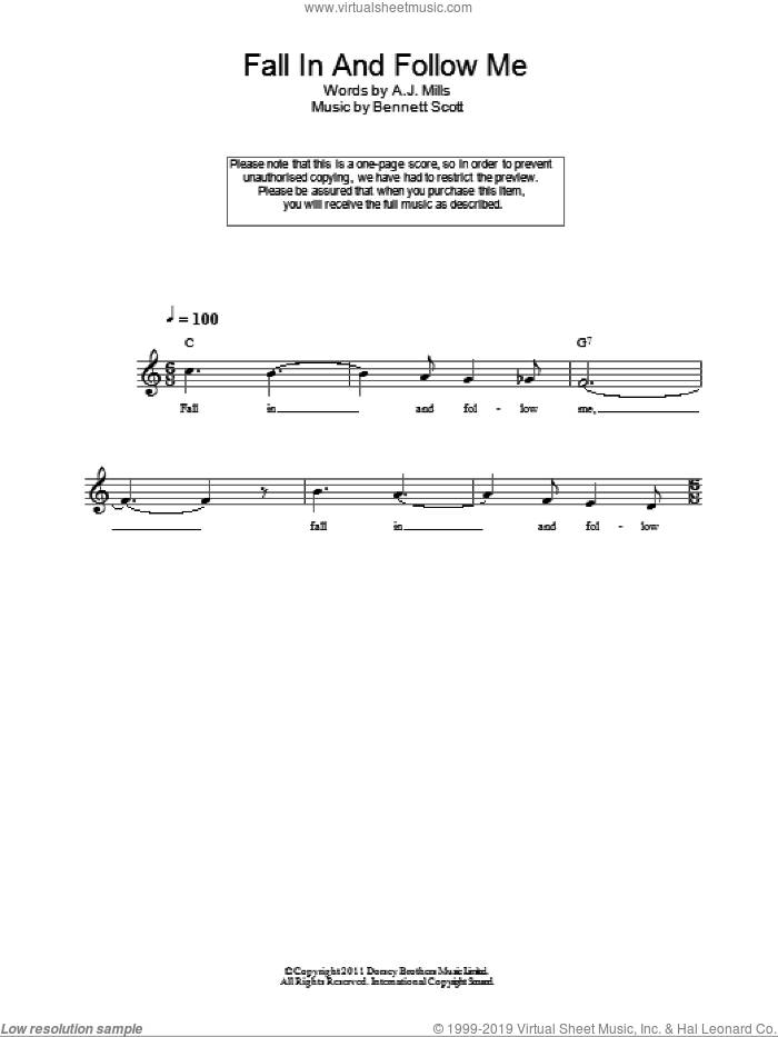Fall In And Follow Me sheet music for voice and other instruments (fake book) by A.J. Mills and Bennett Scott. Score Image Preview.
