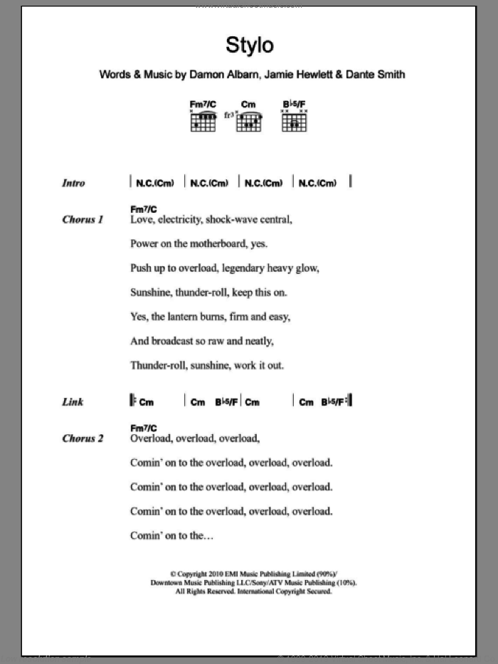 Stylo sheet music for guitar (chords) by Gorillaz and Damon Albarn, intermediate