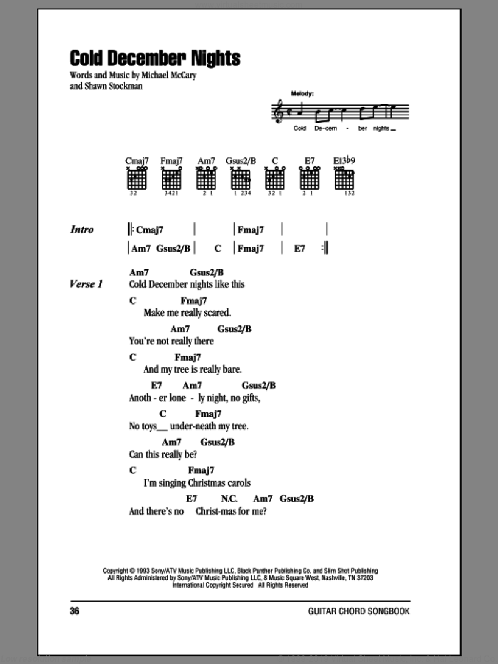 Cold December Nights sheet music for guitar (chords) by Shawn Stockman and Boyz II Men. Score Image Preview.
