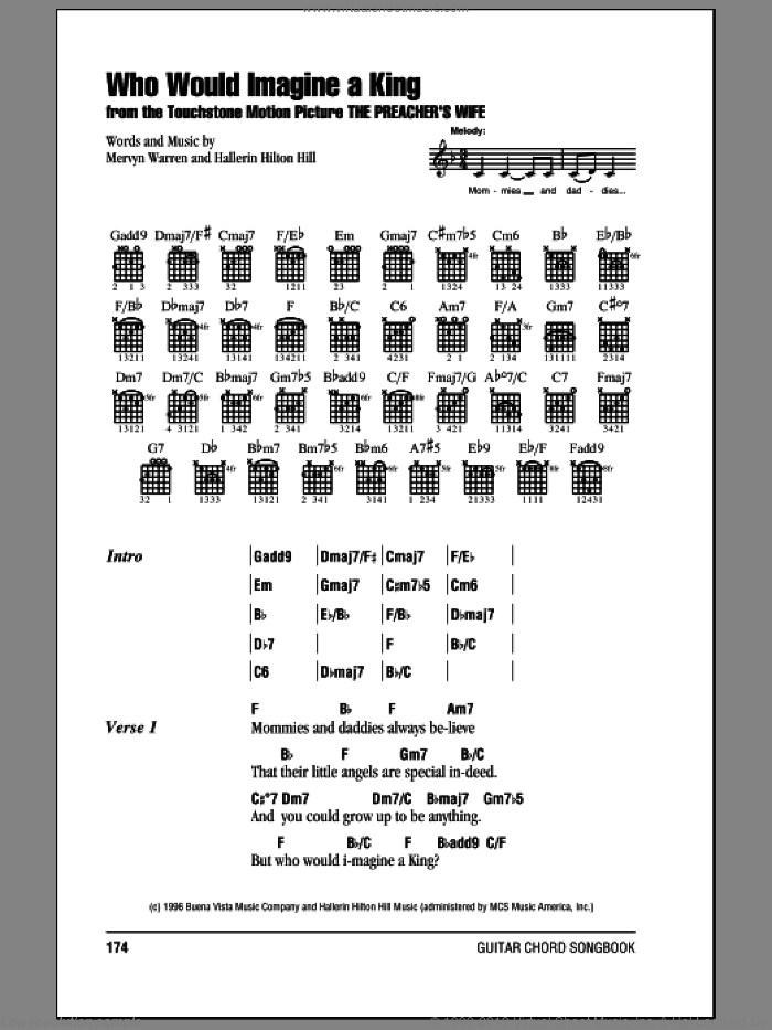 Who Would Imagine A King sheet music for guitar (chords) by Whitney Houston, Hallerin Hilton Hill and Mervyn Warren, intermediate