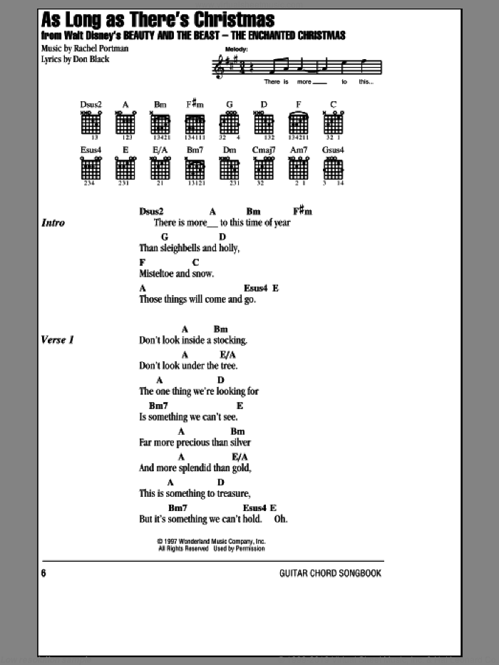 As Long As There's Christmas sheet music for guitar (chords) by Rachel Portman, Peabo Bryson, Roberta Flack and Don Black. Score Image Preview.