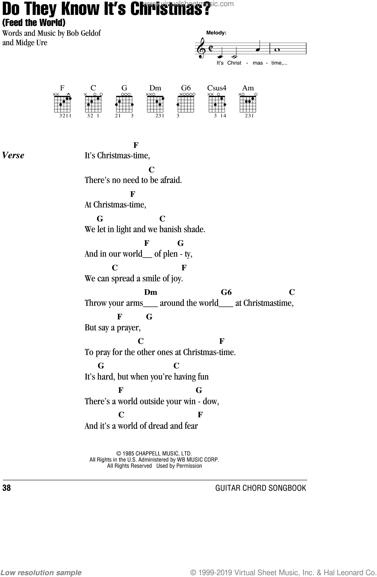Do They Know It's Christmas? sheet music for guitar (chords) by Band Aid and Midge Ure, Christmas carol score, intermediate guitar (chords). Score Image Preview.