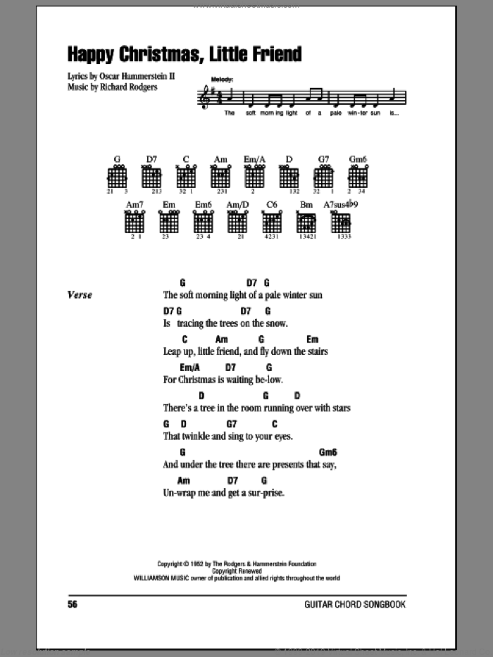Happy Christmas, Little Friend sheet music for guitar (chords) by Rodgers & Hammerstein, Oscar II Hammerstein and Richard Rodgers, Christmas carol score, intermediate guitar (chords). Score Image Preview.
