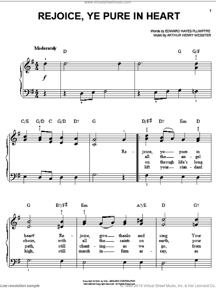Rejoice, Ye Pure In Heart sheet music for piano solo by Edward Hayes Plumptre and Arthur Henry Messiter, easy skill level