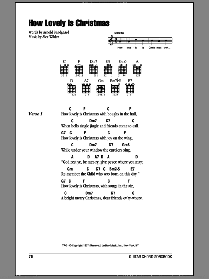 Sundgaard How Lovely Is Christmas Sheet Music For Guitar Chords