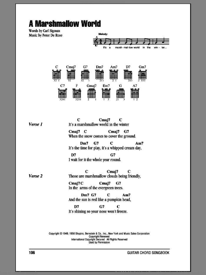 A Marshmallow World sheet music for guitar (chords) by Bing Crosby, Carl Sigman and Peter DeRose. Score Image Preview.