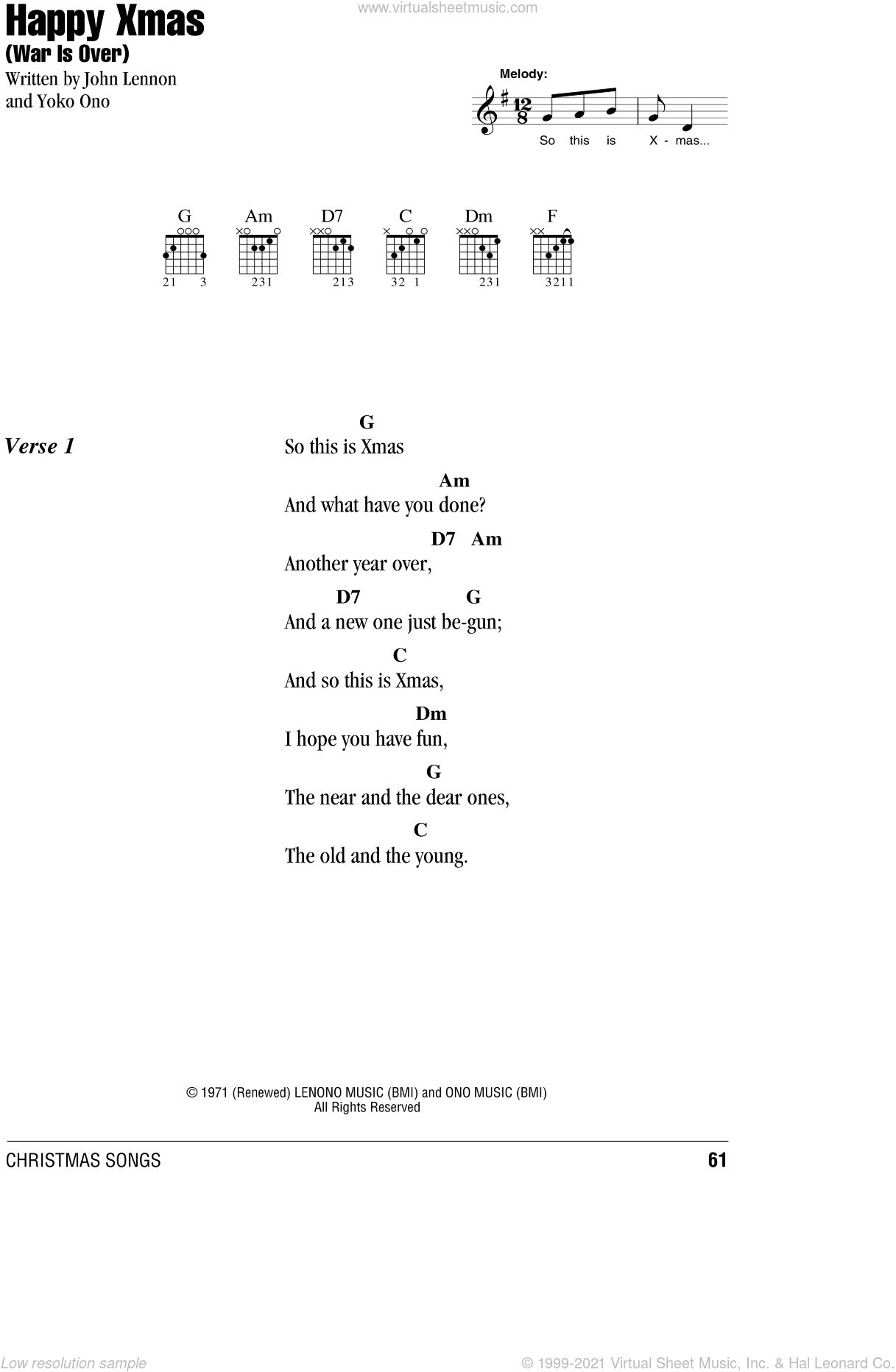Happy Christmas War Is Over Chords.Lennon Happy Xmas War Is Over Sheet Music For Guitar Chords V2