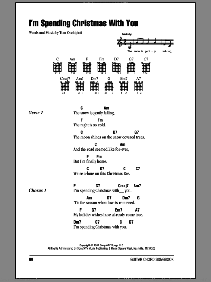 I'm Spending Christmas With You sheet music for guitar (chords) by Tom Occhipinti. Score Image Preview.
