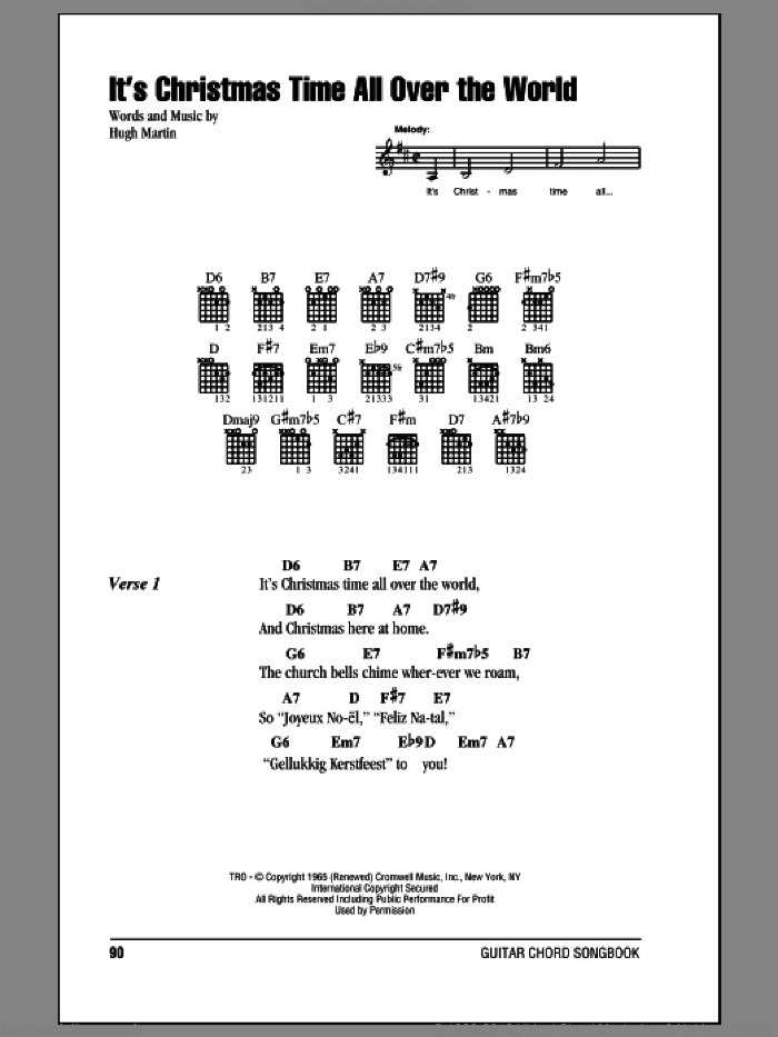 It's Christmas Time All Over The World sheet music for guitar (chords) by Hugh Martin, intermediate