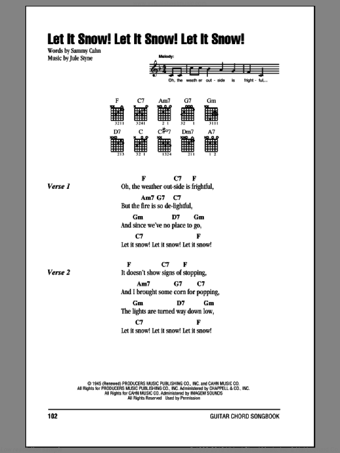 Let It Snow! Let It Snow! Let It Snow! sheet music for guitar (chords) by Sammy Cahn and Jule Styne, intermediate skill level