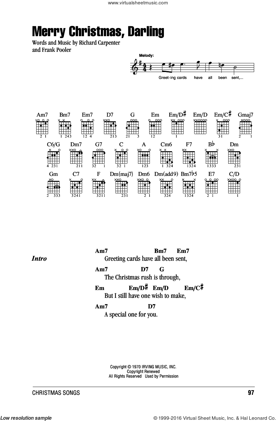 Merry Christmas, Darling sheet music for guitar (chords) by Carpenters and Frank Pooler. Score Image Preview.
