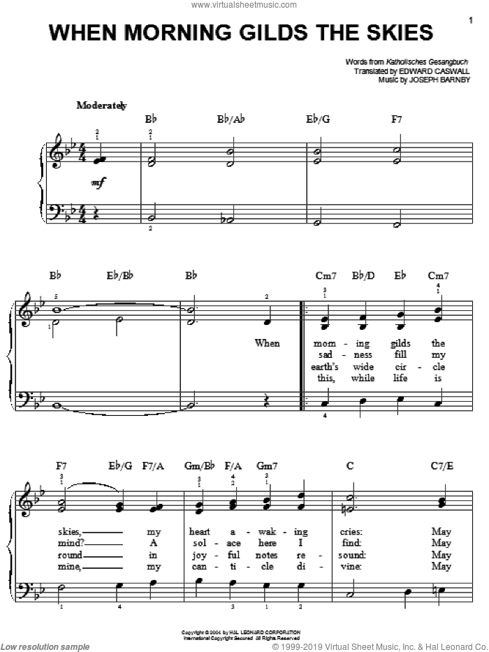 When Morning Gilds The Skies sheet music for piano solo by Katholisches Gesangbuch, Edward Caswall and Joseph Barnby, easy skill level