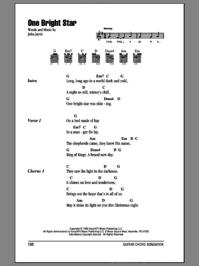 One Bright Star sheet music for guitar (chords) by John Jarvis, intermediate. Score Image Preview.