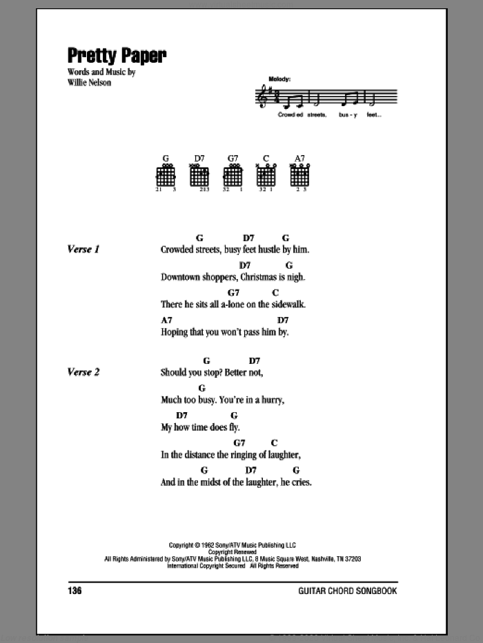 Pretty Paper sheet music for guitar (chords) by Roy Orbison and Willie Nelson, intermediate skill level