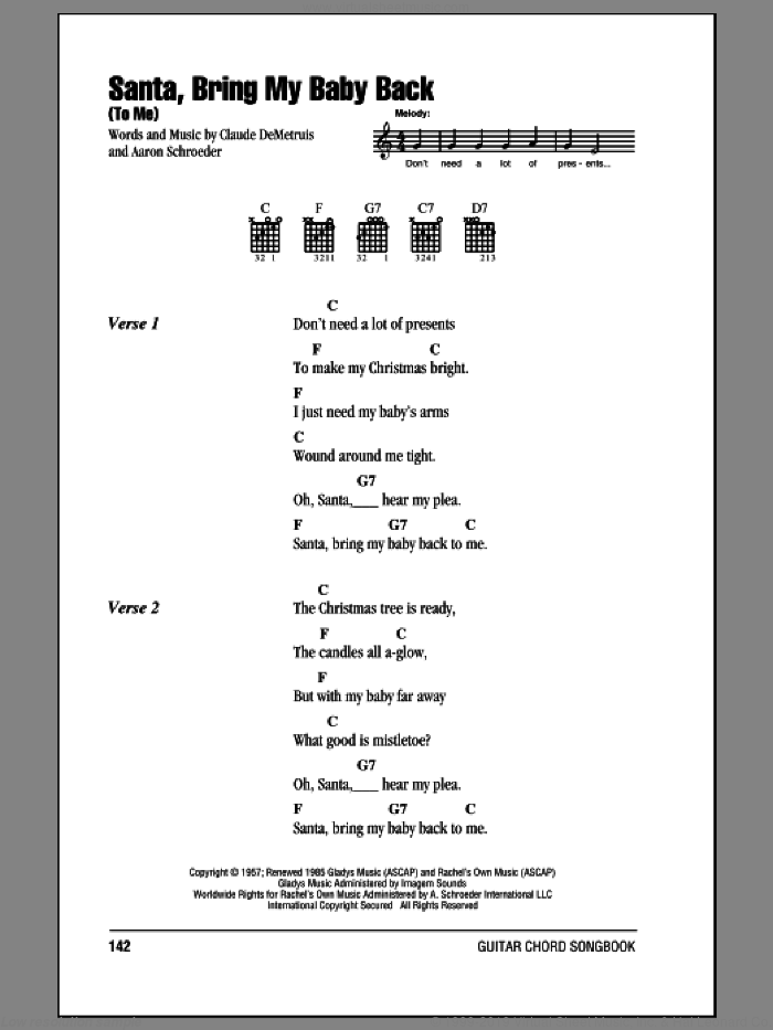 Santa, Bring My Baby Back (To Me) sheet music for guitar (chords) by Elvis Presley and Aaron Schroeder, Christmas carol score, intermediate guitar (chords). Score Image Preview.