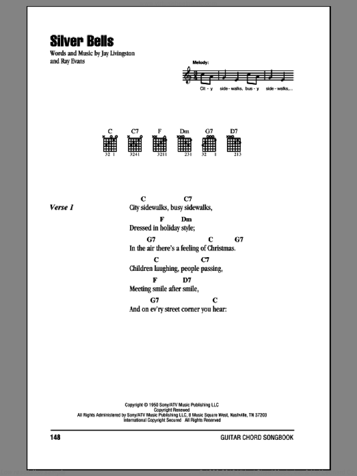 Silver Bells sheet music for guitar (chords) by Ray Evans and Jay Livingston. Score Image Preview.