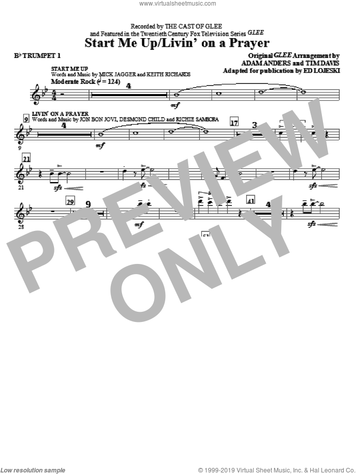 Start Me Up/Livin' On A Prayer (complete set of parts) sheet music for orchestra/band by Glee Cast, Ed Lojeski, Bon Jovi, Desmond Child, Miscellaneous and Richie Sambora, intermediate skill level