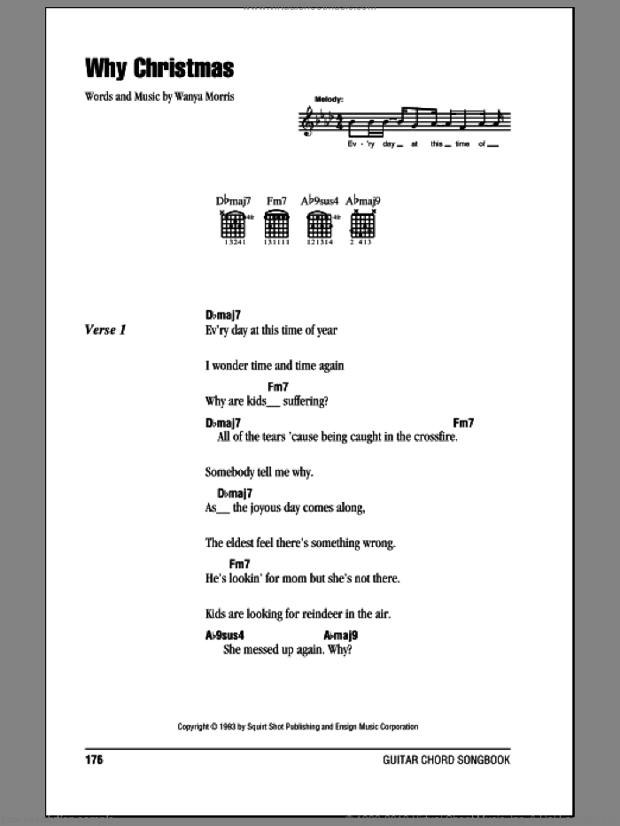 Why Christmas sheet music for guitar (chords) by Wanya Morris and Boyz II Men. Score Image Preview.