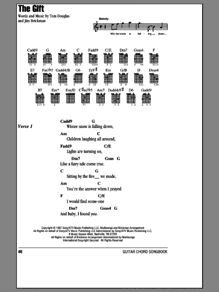 The Gift sheet music for guitar (chords) by Jim Brickman, Collin Raye and Tom Douglas, wedding score, intermediate. Score Image Preview.