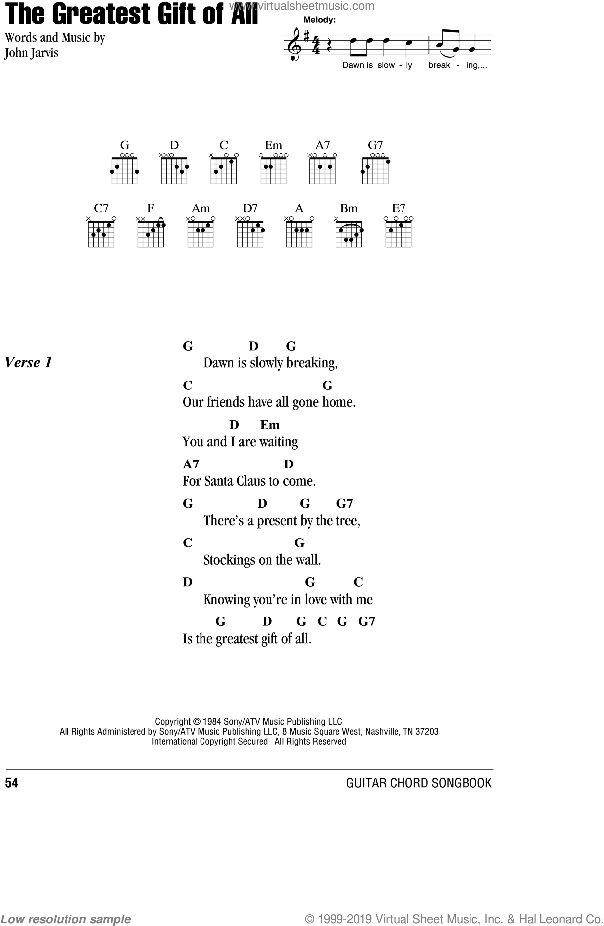 The Greatest Gift Of All sheet music for guitar (chords) by Kenny Rogers and Dolly Parton, Dolly Parton, Kenny Rogers and John Jarvis, Christmas carol score, intermediate guitar (chords). Score Image Preview.