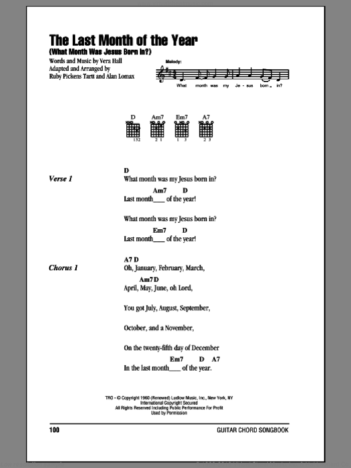 The Last Month Of The Year (What Month Was Jesus Born In?) sheet music for guitar (chords) by Ruby Pickens Tartt, John A. Lomax and Vera Hall. Score Image Preview.