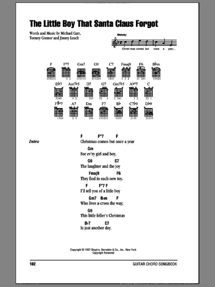 The Little Boy That Santa Claus Forgot sheet music for guitar (chords) by Nat King Cole, Jimmy Leach, Michael Carr and Tommie Connor, intermediate