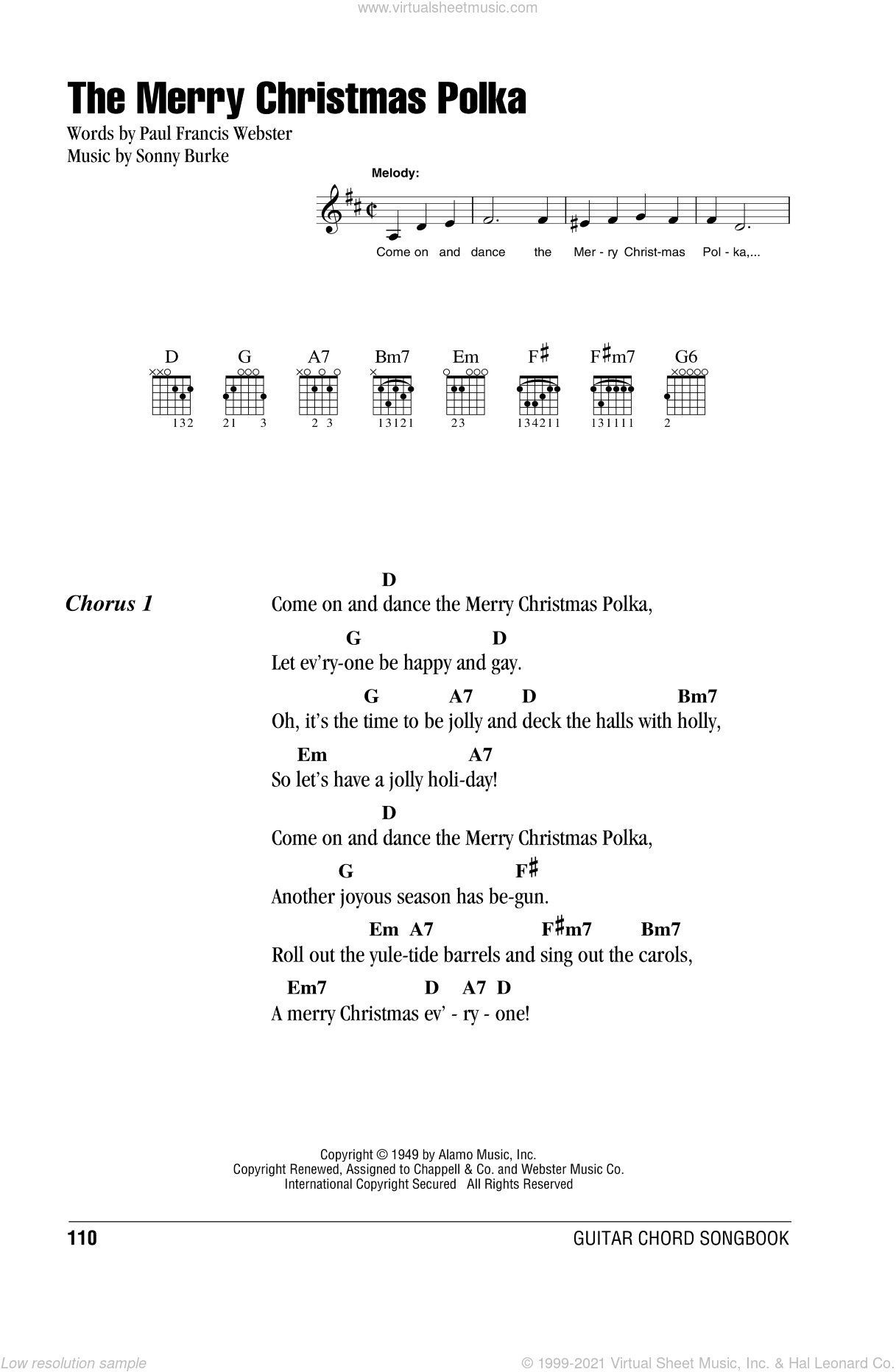 The Merry Christmas Polka sheet music for guitar (chords) by Sonny Burke and Paul Francis Webster. Score Image Preview.