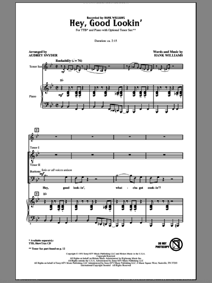 Hey, Good Lookin' sheet music for choir and piano (TTBB) by Hank Williams