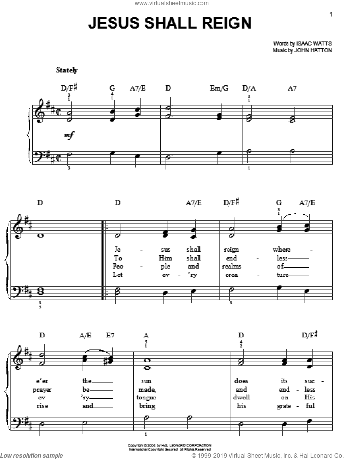 Jesus Shall Reign (Where'er The Sun) sheet music for piano solo by John Hatton and Isaac Watts. Score Image Preview.