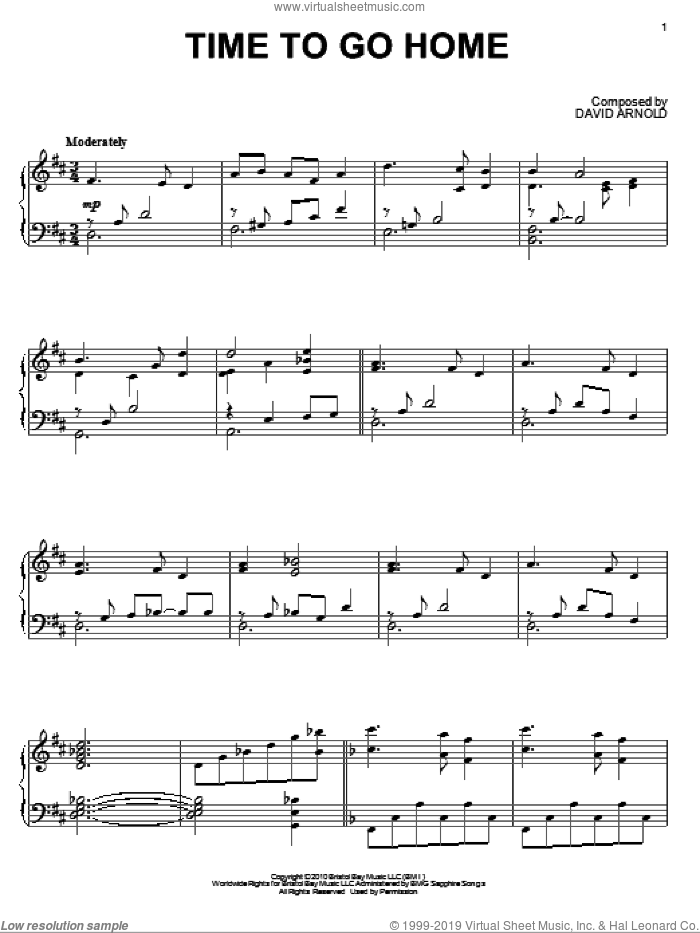 Time To Go Home sheet music for piano solo by David Arnold. Score Image Preview.