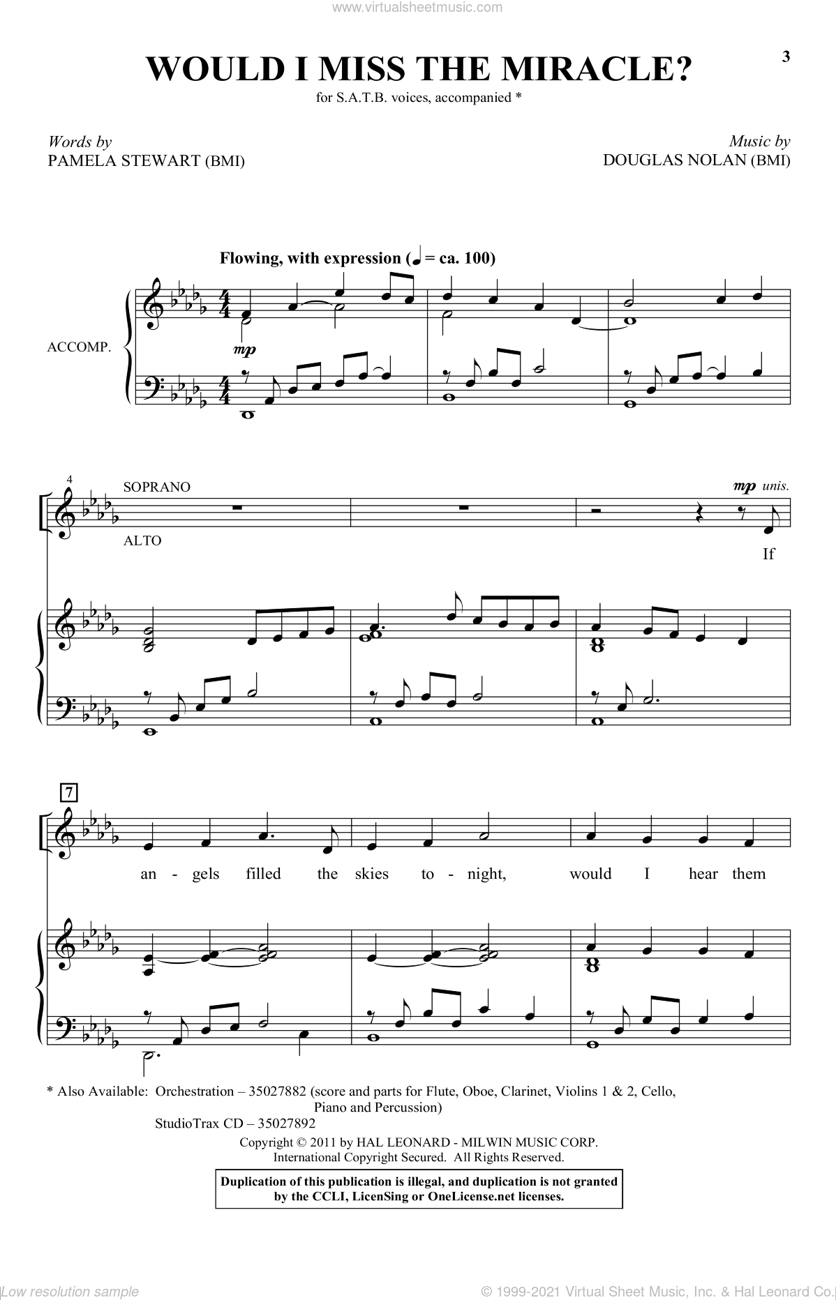 Would I Miss The Miracle? sheet music for choir (SATB: soprano, alto, tenor, bass) by Douglas Nolan and Pamela Stewart, intermediate