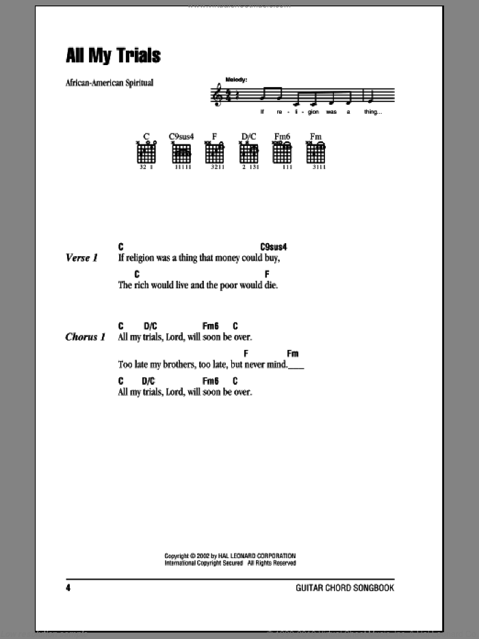 All My Trials sheet music for guitar (chords)