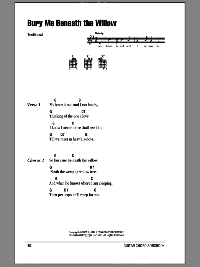 Bury Me Beneath The Willow sheet music for guitar (chords). Score Image Preview.