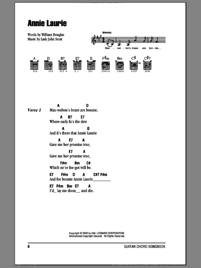 Annie Laurie sheet music for guitar (chords) by William Douglas