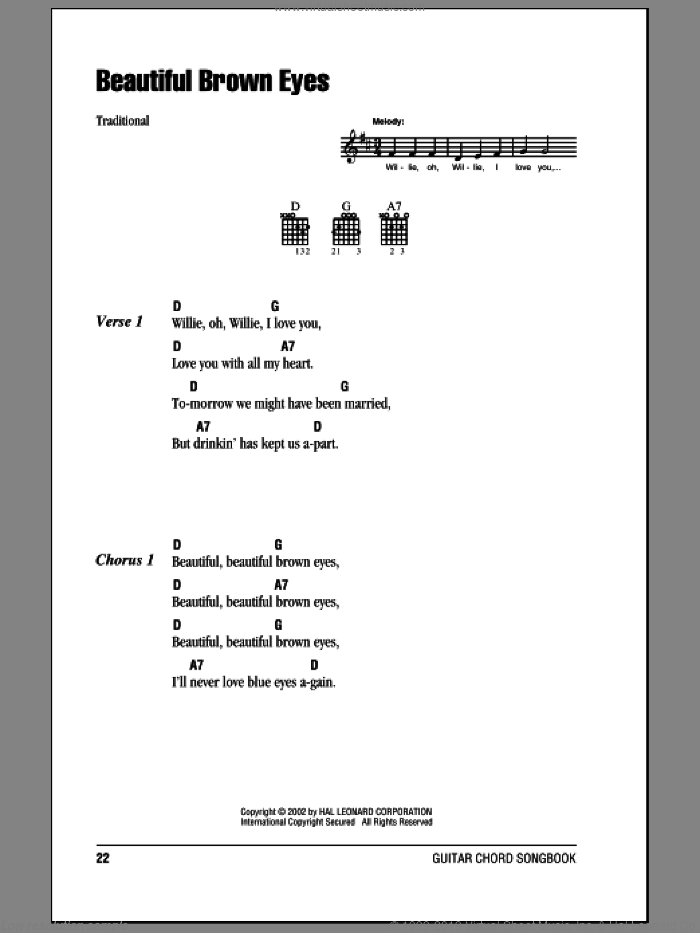 Beautiful Brown Eyes sheet music for guitar (chords). Score Image Preview.