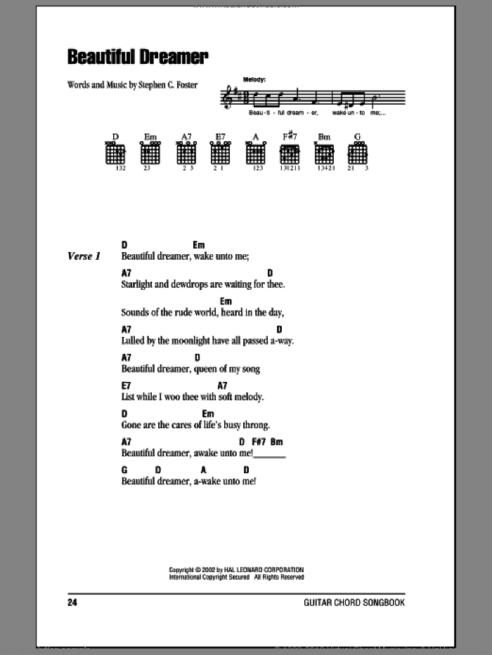 Beautiful Dreamer sheet music for guitar (chords) by Stephen Foster, intermediate skill level