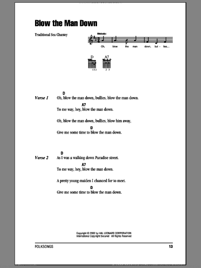 Blow The Man Down sheet music for guitar (chords). Score Image Preview.