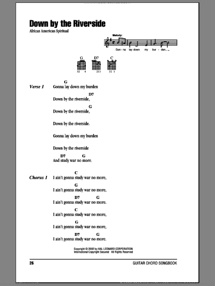 Down By The Riverside sheet music for guitar (chords)